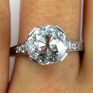 3.62CT DECO ANTIQUE VINTAGE OLD EURO DIAMOND ENGAGEMENT WEDDING RING EGL USA PLA