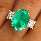 GIA 5.73CT ESTATE VINTAGE GREEN EMERALD DIAMOND ENGAGEMENT WEDDING RING 18K YG