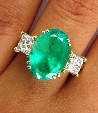 GIA 5.73CT ESTATE VINTAGE GREEN EMERALD DIAMOND ENGAGEMENT WEDDING RING 18K YG