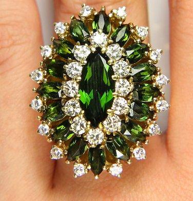 9.73CT HUGE VINTAGE ESTATE RETRO GREEN TOURMALINE DIAMOND CLUSTER BALLERINA RING