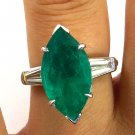 GIA 5.41CT VINTAGE ESTATE MARQUISE GREEN EMERALD DIAMOND ENGAGEMENT WEDDING RING