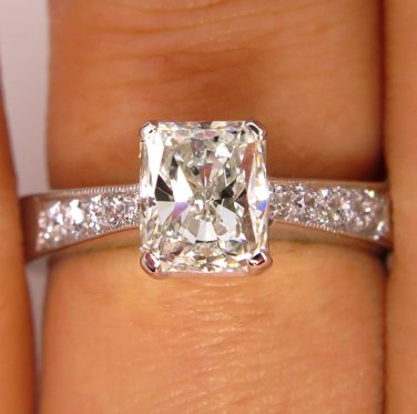 GIA 1.42CT ESTATE VINTAGE RADIANT DIAMOND ENGAGEMENT WEDDING RING 14K WHITE GOLD