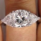 GIA 3.34CT ESTATE VINTAGE CUSHION 3 STONE DIAMOND ENGAGEMENT WEDDING RING 18K WG