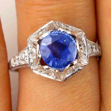 1.72CT ANTIQUE VINTAGE NO HEAT DECO SAPPHIRE DIAMOND ENGAGEMENT WEDDING RING EGL