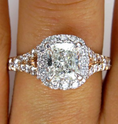 GIA 1.79CT VINTAGE ESTATE CUSHION DIAMOND ENGAGEMENT WEDDING RING HALO ROSE GOLD
