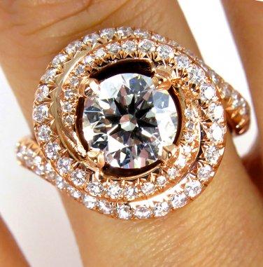 GIA 2.26CT VINTAGE ESTATE ROUND DIAMOND ENGAGEMENT WEDDING RING HALO ROSE GOLD
