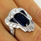 GIA 4.25CT ANTIQUE VINTAGE NO HEAT SAPPHIRE DIAMOND CLUSTER WEDDING RING PLAT
