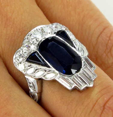 GIA 4.25CT ANTIQUE VINTAGE NO HEAT SAPPHIRE DIAMOND CLUSTER WEDDING RING PLAT