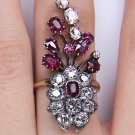 5.25CT ANTIQUE VINTAGE ART NOUVEAU LARGE DIAMOND RUBY ENGAGEMENT CLUSTER RING YG