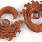 4g (5 mm) Sono Wood Water Curl Earring Pair Gauge Hand Made Organic (pros024_5/band024_5)