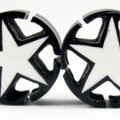 "5/8"" (16 mm) Black/White Star Plug w/Open Corners Gauge Hand Made Organic Horn (band042_16)"