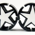 "7/10"" (18 mm) Black/White Star Plug w/Open Corners Gauge Hand Made Organic Horn (band042_18)"