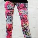 Black/White Roses and Pink Print Leggings (oy1291)