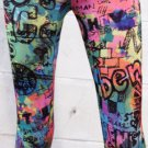 Yellow/Blue/Pink Doodles Leggings (oy1290)