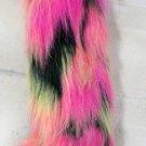 Hot Pink/Yellow/Black Dots Faux Fur Boot Top Leg Warmers (sl1044)