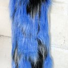 Blue with Black Dots Faux Fur Boot Top Leg Warmers (sl1042)