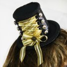 Black Top Hat with Laced Up Front Bow and Beads (lw113)
