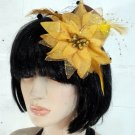 Mini Brown Clip-On Hat with Sparkly Golden Flower (lw115)