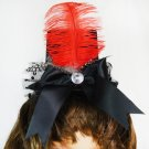 Black Clip-On Top Hat With Red Feather, Black Bow and Polka Dot Feathers (lw116)