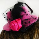 Tiny Pink Rose Clip-On Hat with Polka Dot Mesh (lw122)