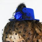 Tiny Blue Rose Clip-On Hat with Polka Dot Mesh (lw123)