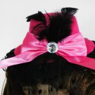 Pink / Black Clip-On Hat With Pink Bow and Black Feathers (lw126)