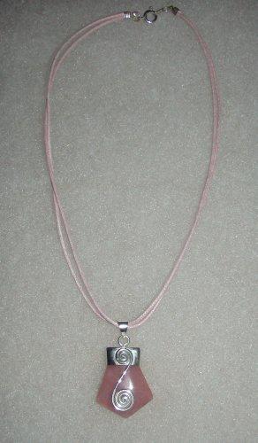 Silver .950 Pink Quartz Pendant