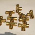 Lot (9) Cajon brass 1/2 npt threaded Tee's
