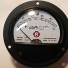 "Marion Elec. Microamperes DC gauge HS 3 , 31/2"" round , 0 - 50 scale"