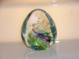 Scottish Borders Art Glass Fishing Trophy / Paperweight