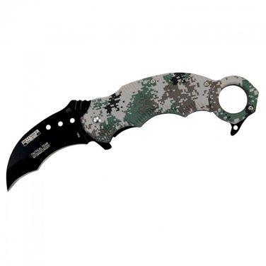 Defender Xtreme Digital Woodland Camo Handle Skinner Knife Karambit