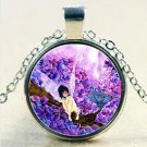 Butterfly Fairy Glass Cabochon Tibetan Silver Chain Pendant Necklace
