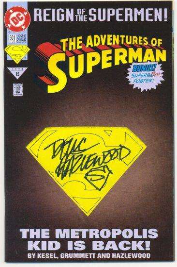 Adventures Of Superman #501 Signed By Hazlewood