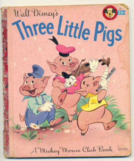 Three Little Pigs Mickey Mouse Book Club Vintage 1948 Classic!