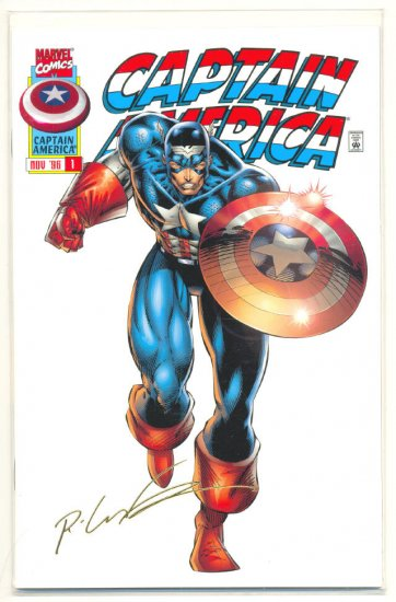 Captain America #1 Signed 22K Gold 1996 HTF !