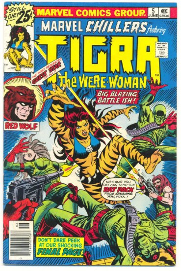 Marvel Chillers #5 Tigra VS Joshua Plague Meugniot Art HTF Bronze !