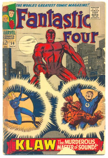 Fantastic Four #56 vs Klaw The Murderous Master Of Sound 1966 Kirby Classic !