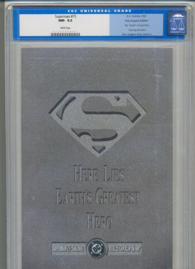 Superman #75 Death Issue CGC Graded 9.2 + Open Bag Reading copy with all the toys !
