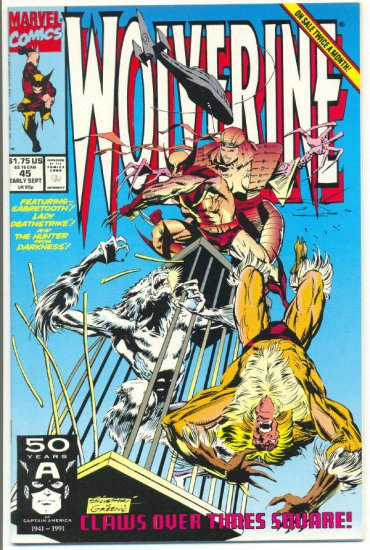 Wolverine #45 Claws Over Times Square Silvestri art Sabretooth NM !