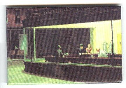 Edward Hopper fine art image on fridge magnet