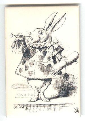 Lewis Carroll White Rabbit Alice In Wonderland on fridge magnet