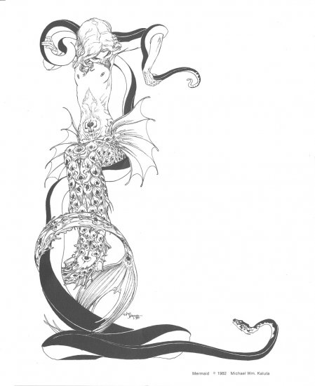 Beautiful Mike Kaluta Mermaid Print 1982 HTF !