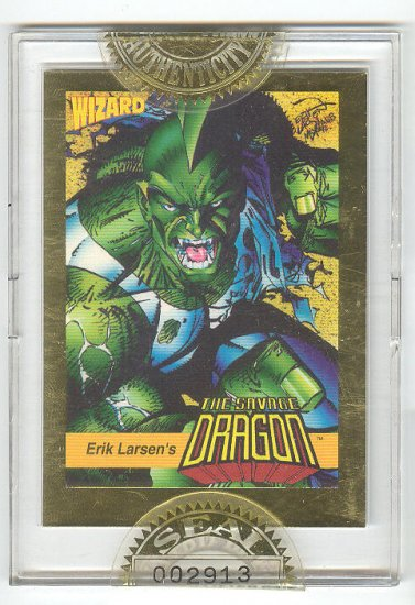 Savage Dragon Sealed Wizard Gold Card HTF 1992 !