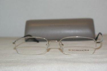 Brand New BCBG Maxazria Spartan Silver Eyeglasses: Mod. Spartan 50-18 & Case