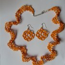 Handmade Orange Seed Beads Necklace and Earrings, Beaded Necklace and Earrings