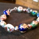 Handcrafted Cloisonne Bracelet in vivid colors 8in