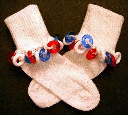 Girls Beaded Socks - white socks with fun beads by Daisy