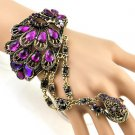 Purple Swarovski Crystal Peacock Style bracelet & ring Set