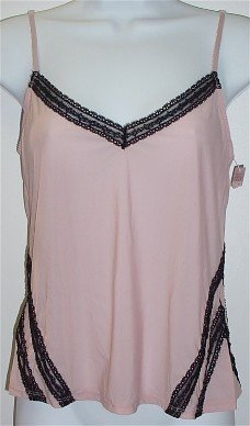 Gilligan & O'Malley Smoke Pink/Black Lace Cami Camisole Top ~ M