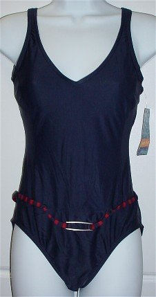 Jantzen One-Piece Navy Blue/Red Swimsuit Bathing Suit with Belt #34420 $74 ~ Ladies 8